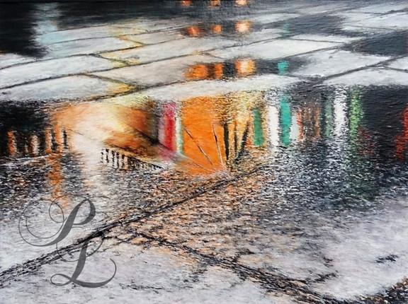 Reflets rue pavée sous la pluie Concours Chatelaillon Acrylique Vendu