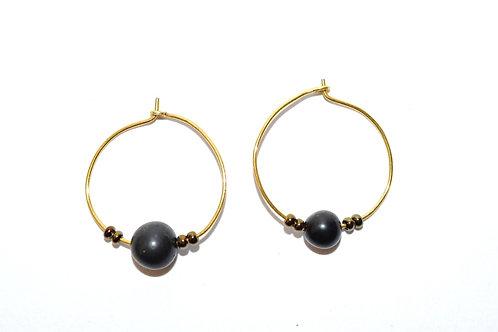 Ha Earring - Obsidian Gemstone