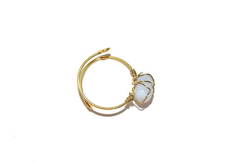 Mudra Ring - Blue Chalcedony Gemstone