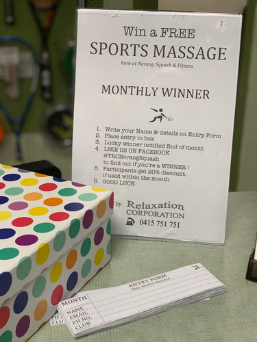 Montly winers for FREE sports massage