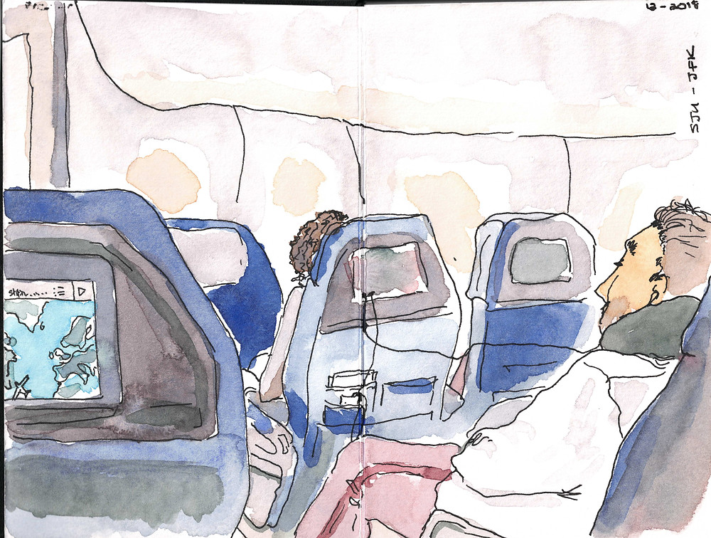 loose watercolor sketching on plane by Alicia Kidd