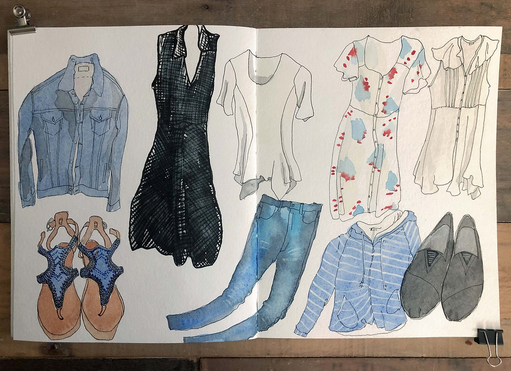 packing list sketch by alicia kidd