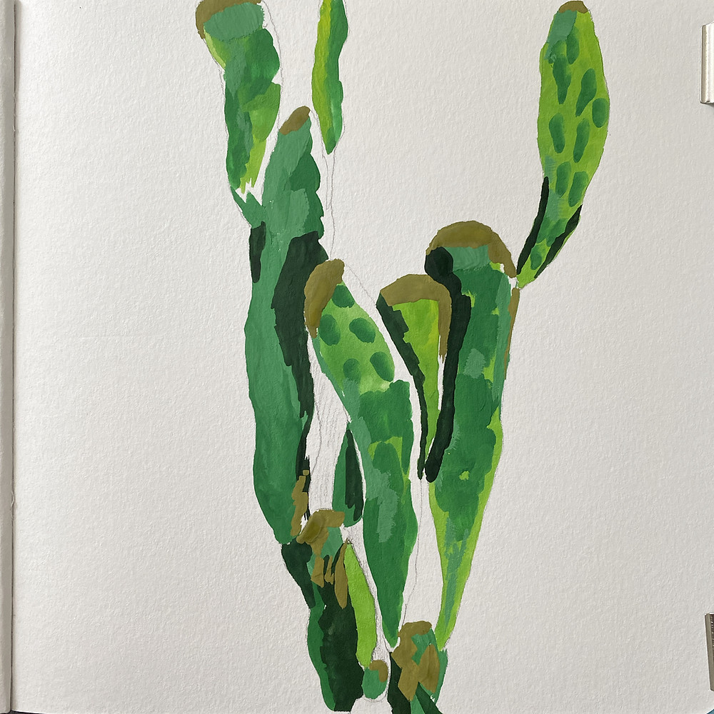 ugly stage of a gouache painting of a cactus