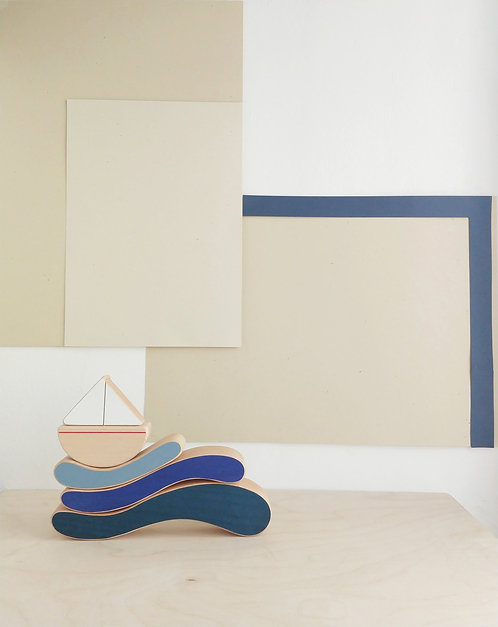 The Wandering Workshop | Boat & Waves Stacking Toy