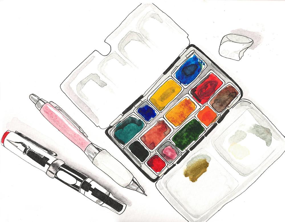 loose watercolor sketching by Alicia Kidd
