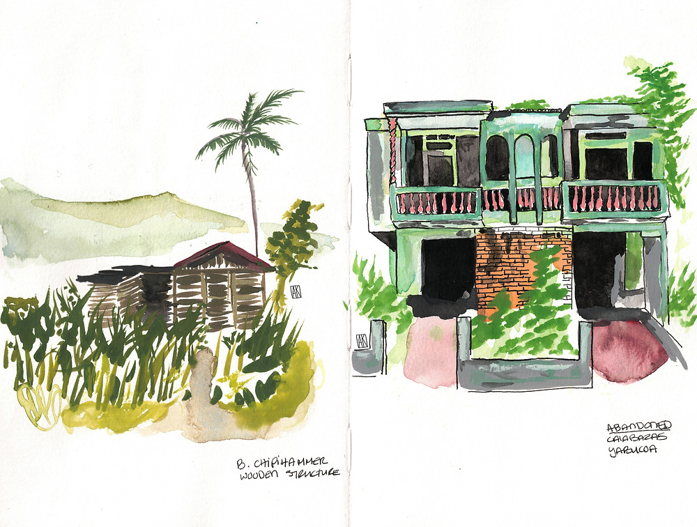 Abandoned Caribbean houses painted in gouache on my sketchbook by Alicia Kidd artist living in Puerto Rico