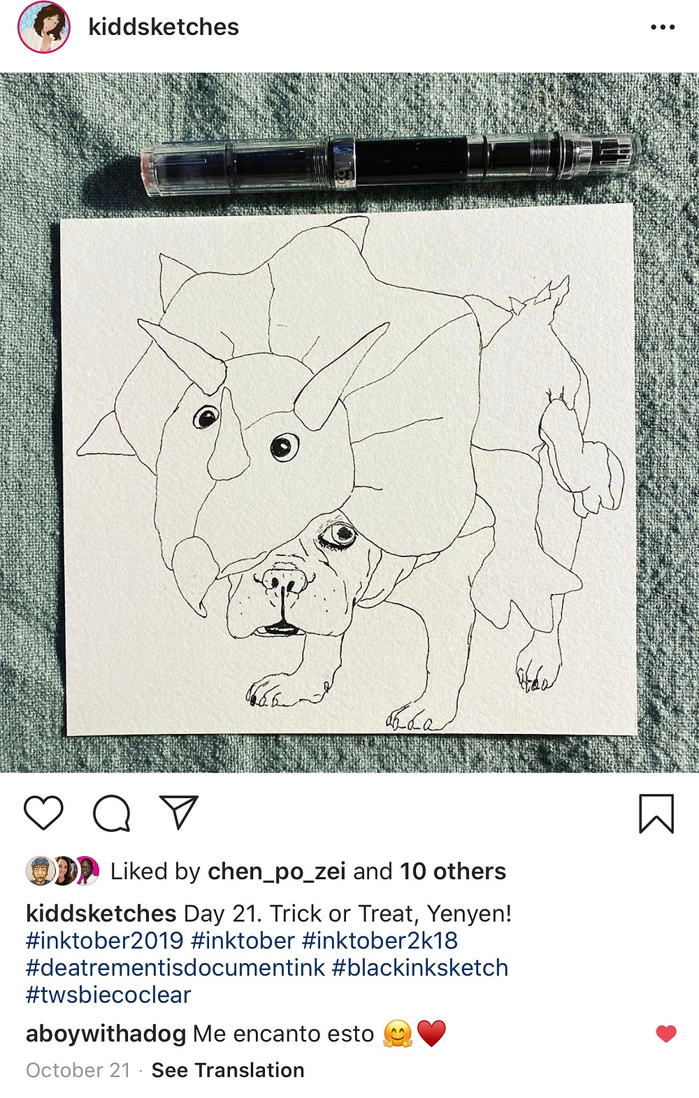 line drawing of Yenyen the French Bulldog in Halloween costume