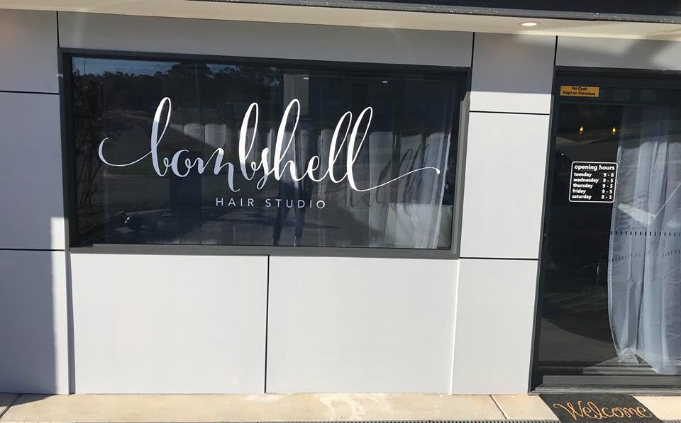 Bombshell Hair Window Signage