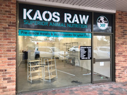 Kaos Raw Shop Front Signage