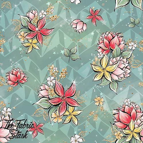 Ladybug Floral Green - Cotton Twill (woven)