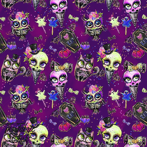Sugar Boo Purple - Cotton Lycra 220gsm