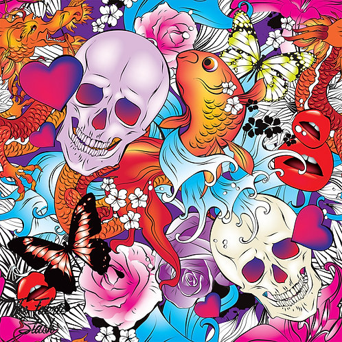 Goldfish Skulls Tattoo - Firm Synthetic Leather