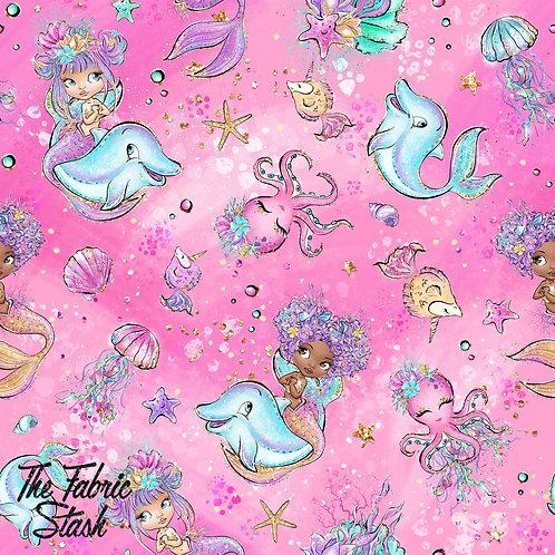 Mermaid Tale Pink - Cotton Twill (woven)