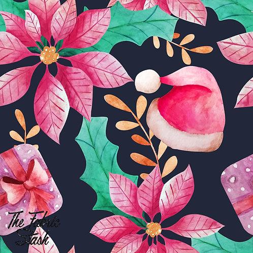 Poinsettia & Hat - Cotton Twill (woven)