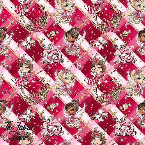 Fairy Xmas Red White Tartan