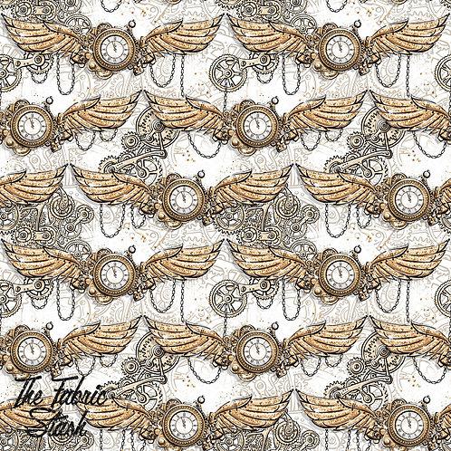 Steampunk Clock - Cotton Twill (woven)