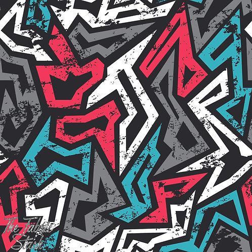 Grunge Graffiti - Cotton Lycra 220gsm
