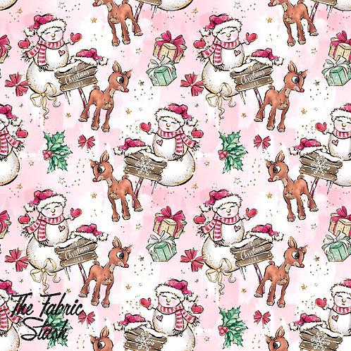 Glittery Snowman & Reindeer Pink