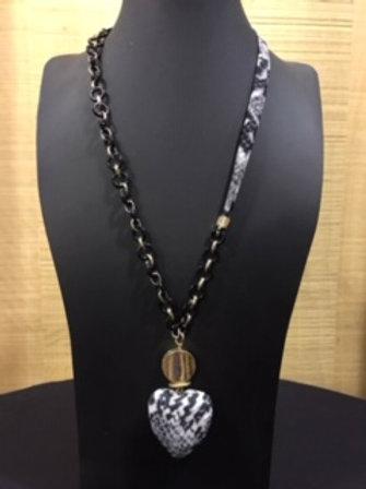 Collier long coeur noir et gris AXELLE