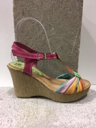 Sandale multicolore en cuir avec talon compensé FLORENTINE