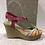 Thumbnail: Sandale multicolore en cuir avec talon compensé FLORENTINE