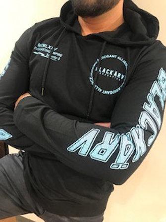 Hoodie noir imprimé bleu pâle Black Karv