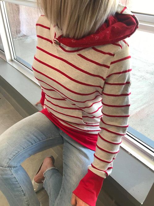 tricot avec capuchon rayé rouge et blanc cassé Ragwear
