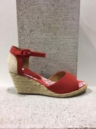 Sandale rouge avec talon compensé en rotin NOBLEZ