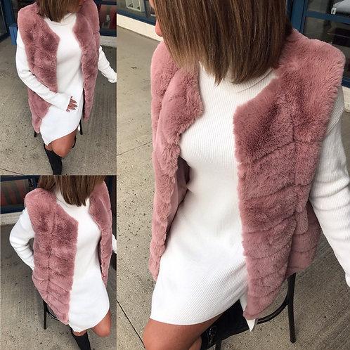 Veste rose en vraie fourrure