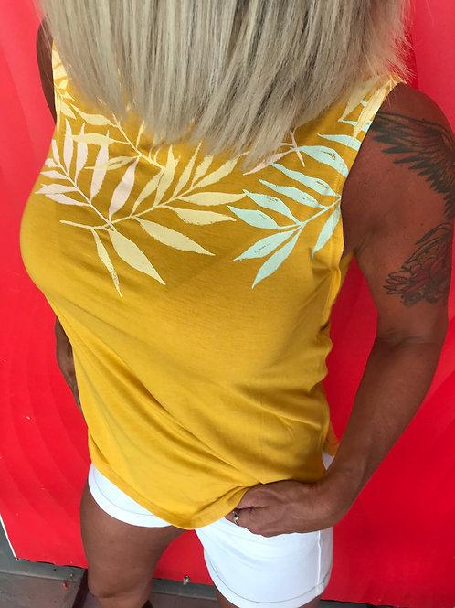 Camisole jaune à feuilles de palmier Ragwear