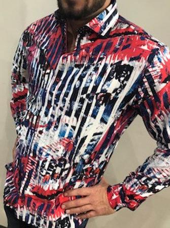 Chemise à manches longues multicolores Au Noir