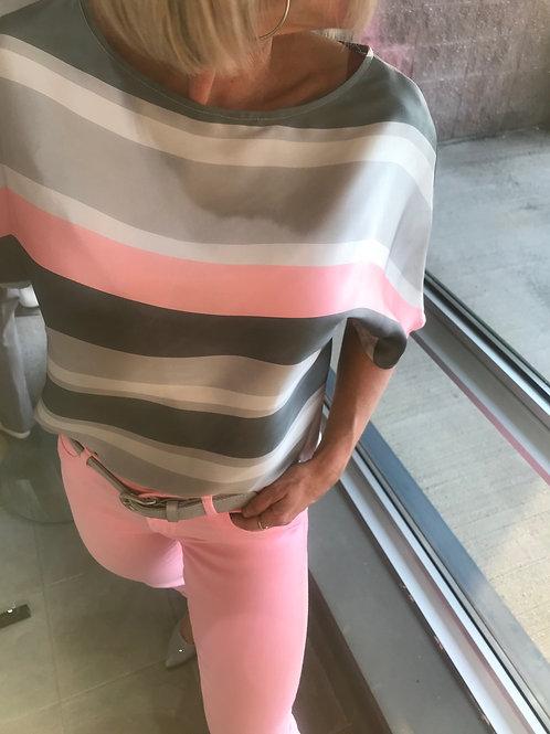 Blousette rayée rose et grise KAPALUA