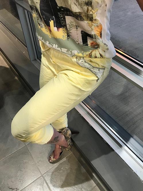 Pantalon jaune décontracté avec paillettes