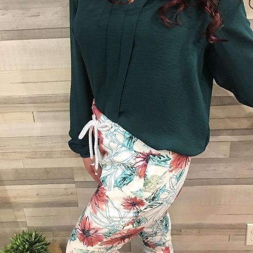 Pantalon imprimé fleuri rose et bleu Collection italienne