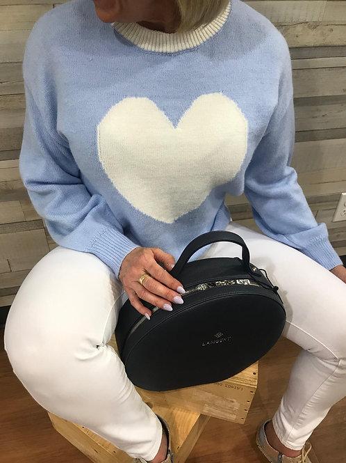 Chandail de laine bleu avec cœur Collection italienne