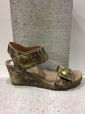 Sandale en cuir taupe et doré Taos