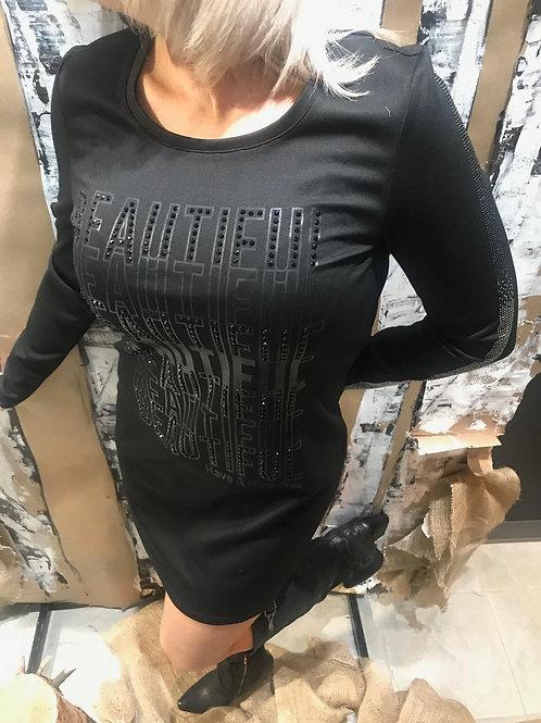 Robe noire avec gemmes Tricotto