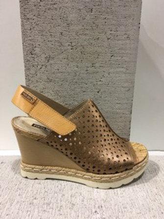 Sandale bronze à talon compensée Pikolinos
