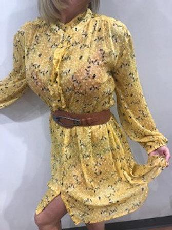Robe manches longues jaunes maïs fleurie noire  Cream