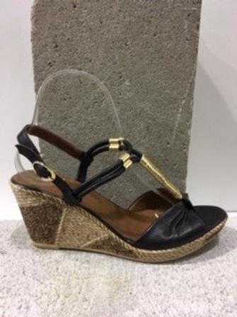 Sandale noire et dorée LA PINTA
