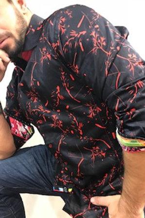 Chemise manches longues noir à motifs rouge AuNoir