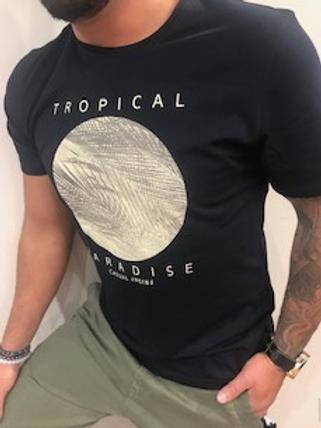 T-shirt noir imprimé tropical Casual Friday