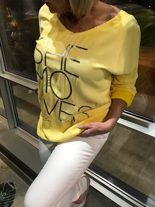 Haut jaune avec texte argenté Collection italienne