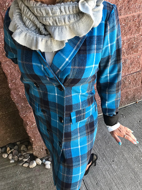 Trench-coat bleu à carraux Kaffe