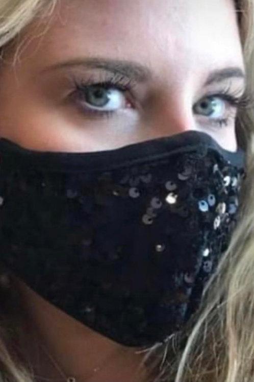 Masque noir à paillettes