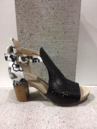 Sandale noire avec talon fleuri Laura Vita