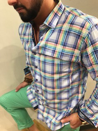 Chemise carrelée multicolore Au Noir