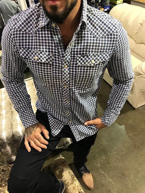 Chemise manches longues carretées beige et bleue avec poches et boutons à snap