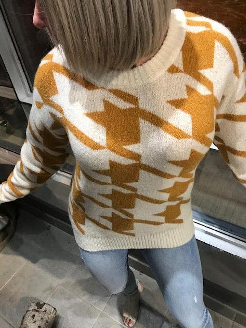Chandail de laine à motifs jaunes Ichi