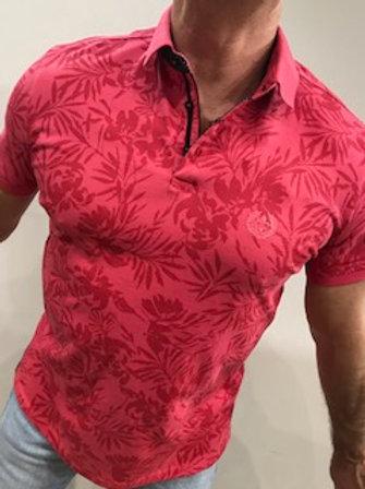 Polo rouge imprimé tropical AU NOIR